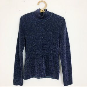 Zara Limited Edition Sparkle Knit Zipper Sweater S